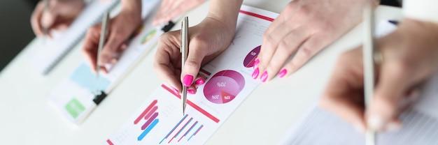 Groupe d'hommes d'affaires écrivant avec des stylos à bille dans des documents avec des graphiques en gros plan