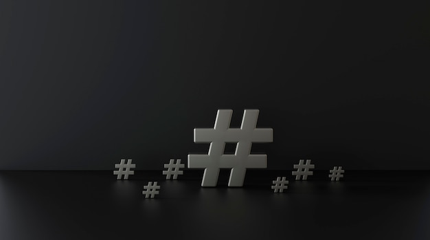 Groupe d'icône de hashtag argenté sur fond sombre. 3d illustration.