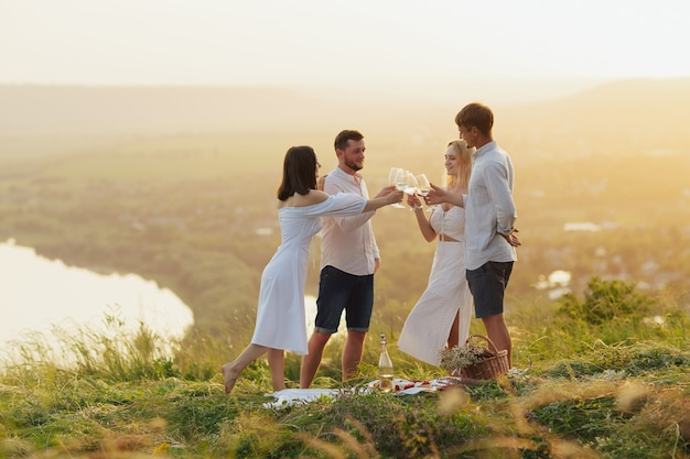 Groupe de jeunes amis s'amusant à porter un toast avec des verres à vin lors d'un pique-nique