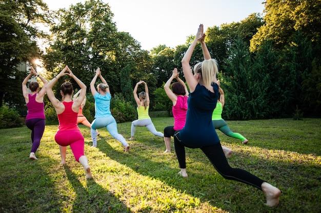 Un groupe de jeunes femmes attirantes sportives pratiquant le yoga sur une nature