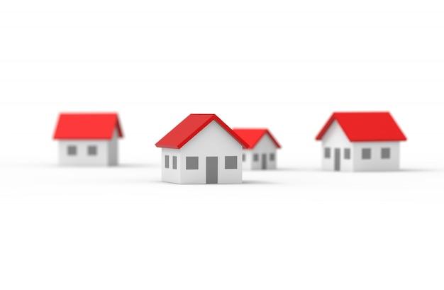Groupe de maison floue isolé sur blanc
