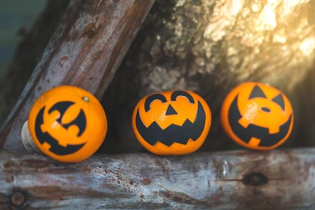 Groupe d'oranges face à la peinture avec effrayant le jour de la fête d'halloween au jardin.