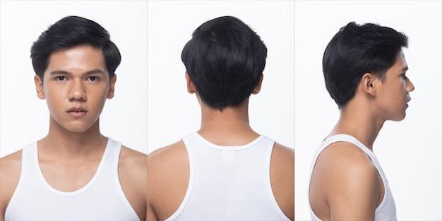 Groupe de pack de collage d'un adolescent asiatique après la coiffure. pas de retouche, visage de mode, exprimer beaucoup de sentiments et de poses. studio éclairage fond blanc isolé, vue arrière arrière