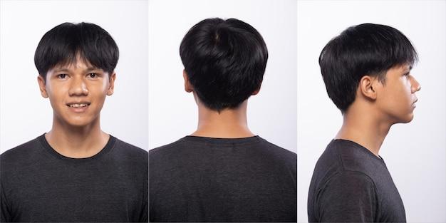 Groupe de pack de collage d'un adolescent asiatique avant de se coiffer. pas de retouche, visage frais avec une peau agréable et lisse. arrière vue arrière éclairage studio fond blanc isolé.