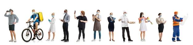 Groupe de personnes avec différentes professions isolées sur fond blanc horizontal