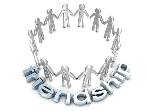 Un groupe de personnes icône debout dans un cercle.