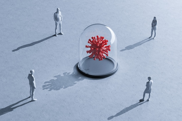 Groupe de personnes miniatures avec distance entre eux, flèches dessinées sur le sol entre les figurines de rendu 3d