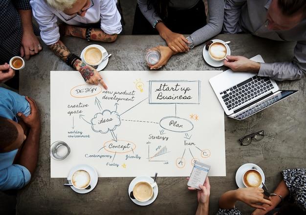 Groupe de personnes planifiant une entreprise en démarrage