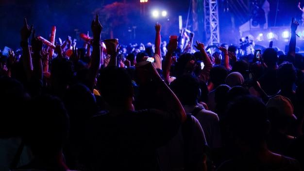 Groupe de personnes s'amusant au concert de musique