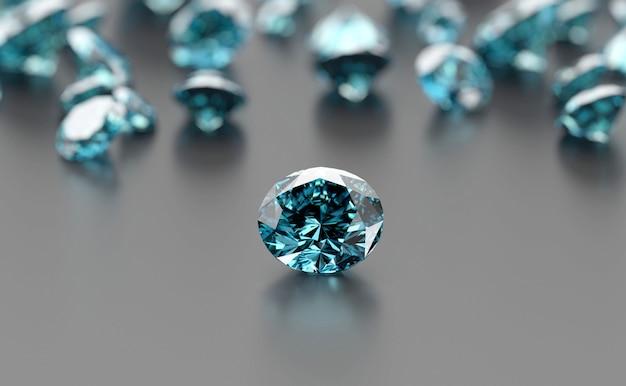 Groupe de pierres précieuses bleues placé sur fond noir