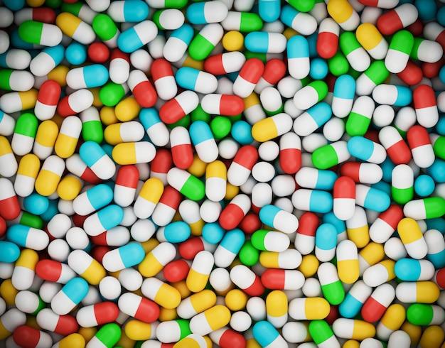 Groupe de pilules ou de gélules, plat