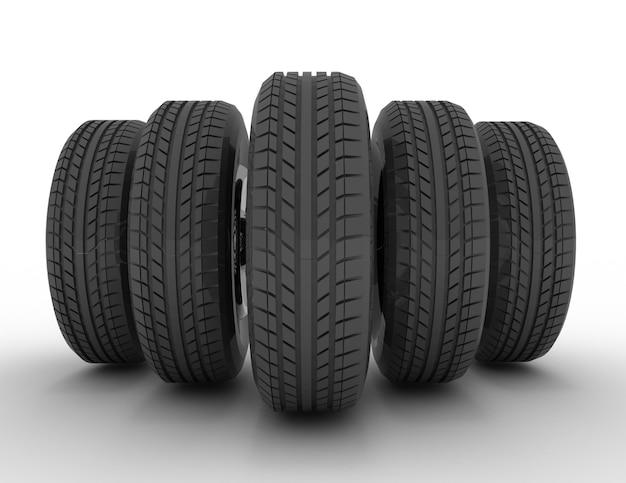 Groupe de pneus automobiles. illustration de rendu 3d