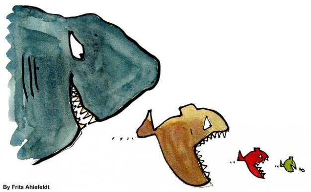 Groupe de poissons prédateurs hiérarchie poissons dominent manger