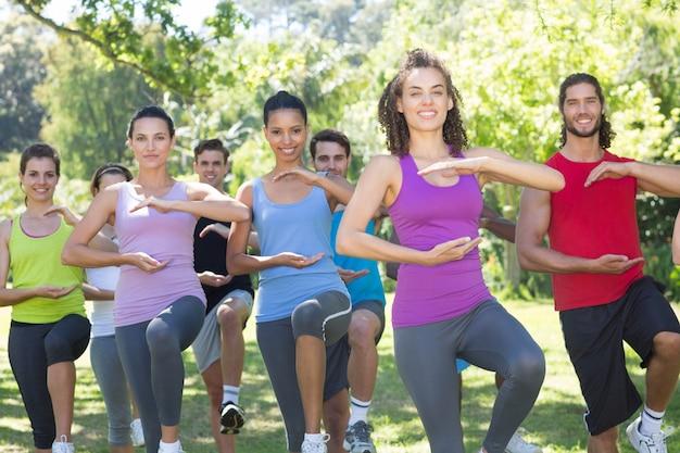 Groupe de remise en forme faisant le tai-chi dans le parc