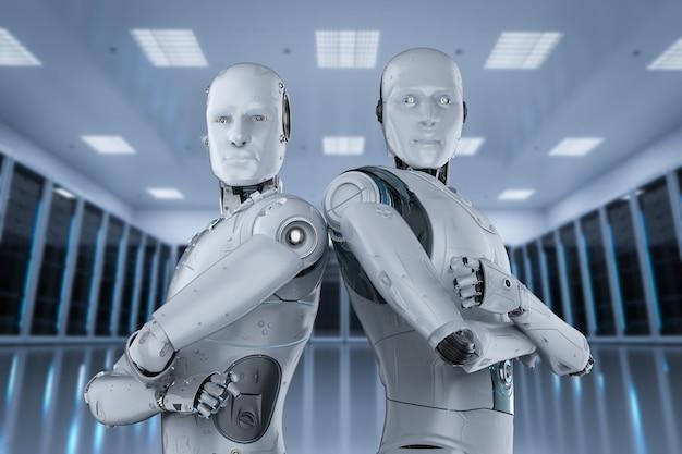 Groupe de rendu 3d de robot d'intelligence artificielle pour le travail d'équipe