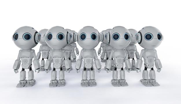 Groupe de rendu 3d de robots d'intelligence artificielle mignons avec personnage de dessin animé