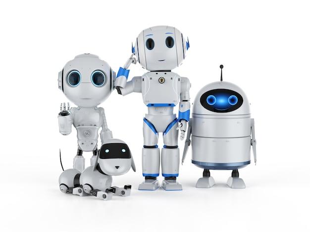 Groupe de rendu 3d de robots d'intelligence artificielle avec personnage de dessin animé