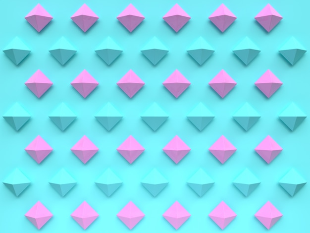 Groupe de scène plat laïc du motif de forme géométrique rose bleu défini le rendu 3d abstrait minimal