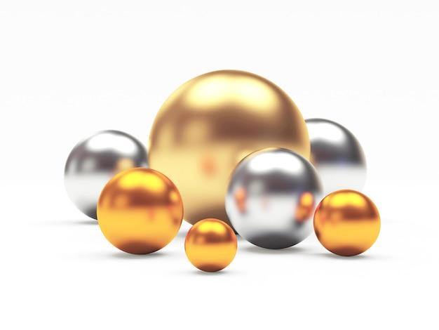 Groupe de sphères d'or, d'argent et de bronze ou de cuivre