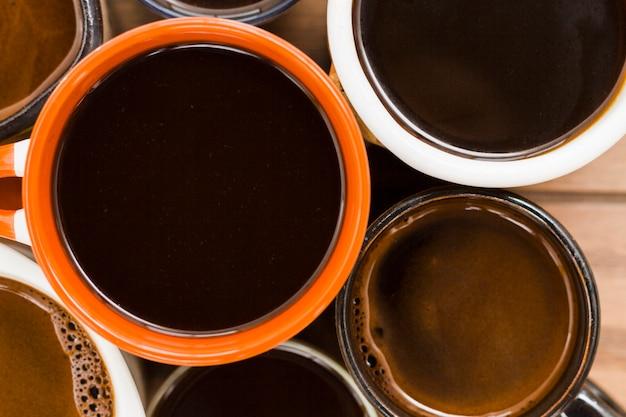 Groupe de tasses à café vue de dessus