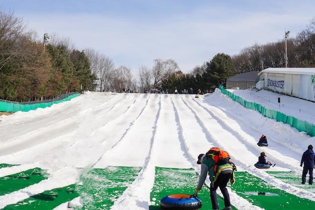 Un groupe de touristes non identifié aime jouer au ski et au snowboard à everland resort park