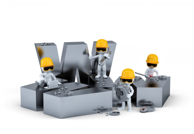 Groupe de travailleurs de la construction / constructeurs avec signe www. concept de construction ou de réparation de site web.