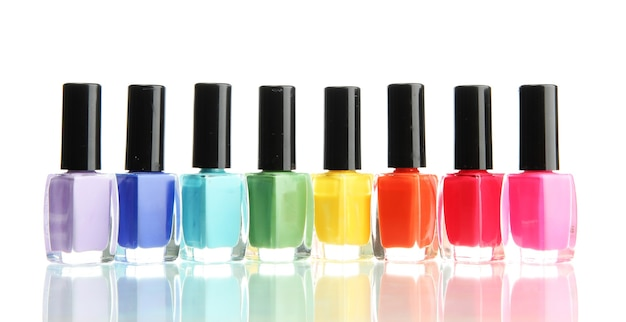Groupe de vernis à ongles lumineux isolated on white