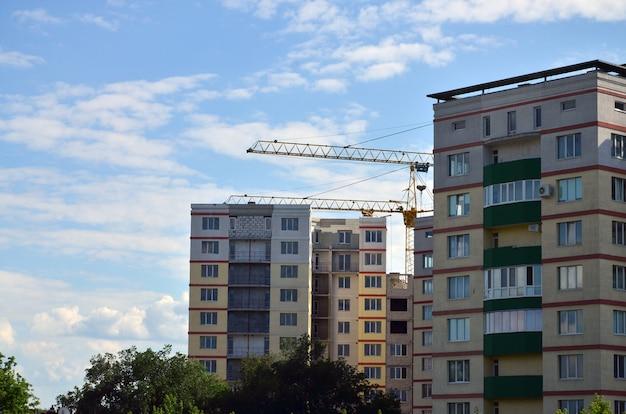 Grues de construction hautes et lourdes contre un ciel bleu