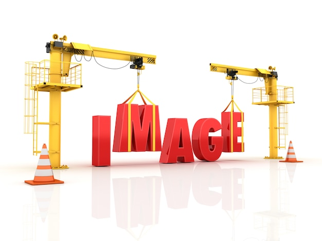 Grues construisant le mot image