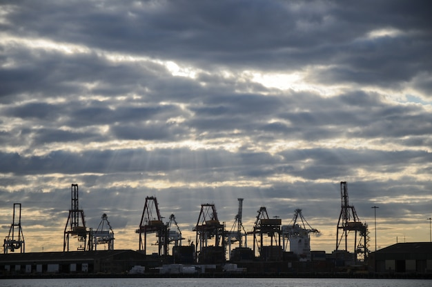 Grues de l'industrie lourde dans la zone de la baie logistique dans la scène du crépuscule du soir
