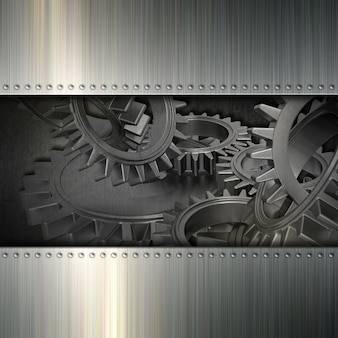 Grunge background avec l'image d'engrenages et de métal brossé