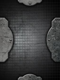 Grunge avec béton et treillis métallique