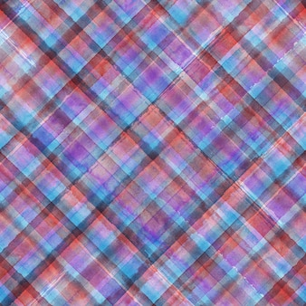 Grunge coloré madras tartan plaid diagonal abstrait géométrique sans soudure arrière-plan. motif harmonieux dessiné à la main à l'aquarelle avec des rayures violettes bleues et roses. papier peint, emballage, textile, tissu