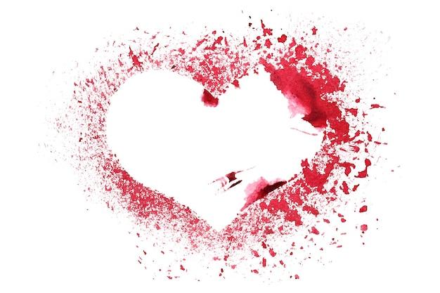 Grunge pochoir coeur rouge isolé sur fond blanc