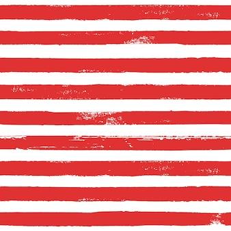 Grunge Rouge Et Blanc Abstrait Motif Rayé à La Main. Fond Blanc Avec Des Rayures Horizontales Rouges De Ligne De Brosse. Illustration à L'encre. Impression Pour Textile, Papier Peint, Emballage. Photo Premium