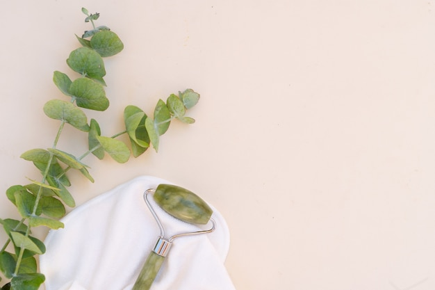 Gua sha close up, massage du visage rouleau de jade vert en pierre naturelle avec eucaliptus naturel