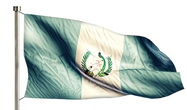 Guatemala national flag isolated 3d fond blanc