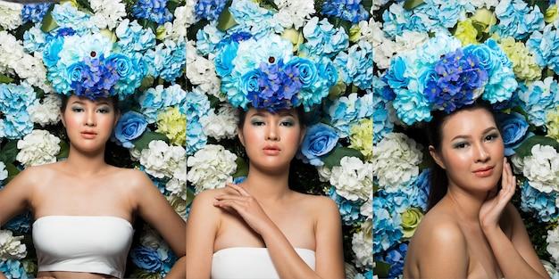 Guirlande de fond de fleurs en rose bleu odeur fraîche bon printemps été pour le portrait d'une belle femme asiatique, campagne d'éclairage de studio pour parfum, cosmétique, concept de rouge à lèvres, pack de groupe de collage
