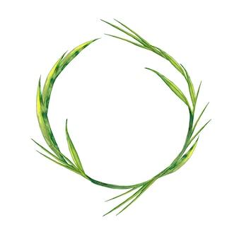 Guirlande d'herbe verte fraîche d'été réaliste. peinture à l'aquarelle.