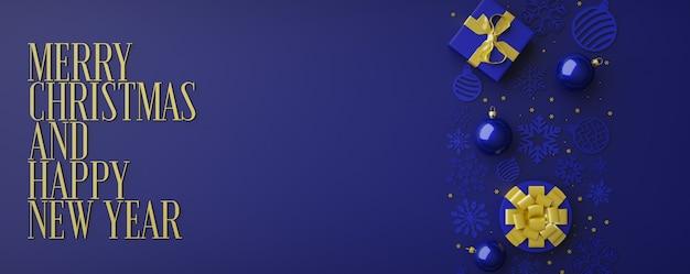 Guirlande de lumières scintillantes de noël avec boîte-cadeaux et guirlandes d'or horizontal