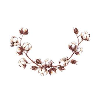 Guirlande semi-ronde de branches de coton, de boîtes et de bourgeons. peinture à l'aquarelle.