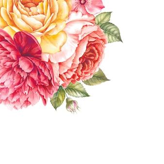 Guirlande vintage de fleurs épanouies.