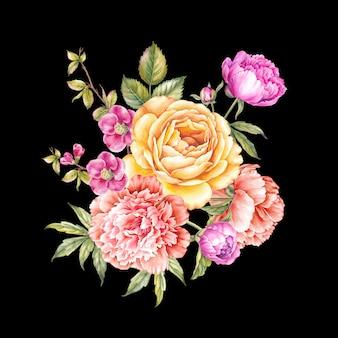 Guirlande vintage de roses en fleurs.