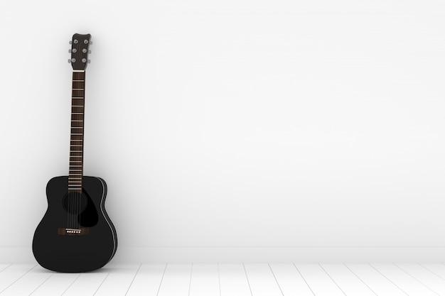 Guitare acoustique noire dans une salle blanche vide avec rendu 3d
