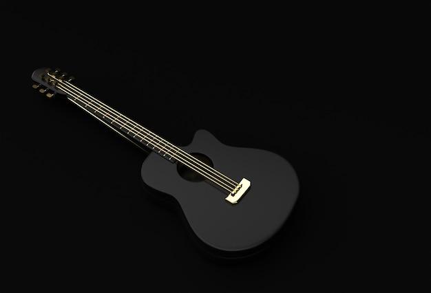 Guitare acoustique de rendu 3d sur fond noir 3d illustration design.