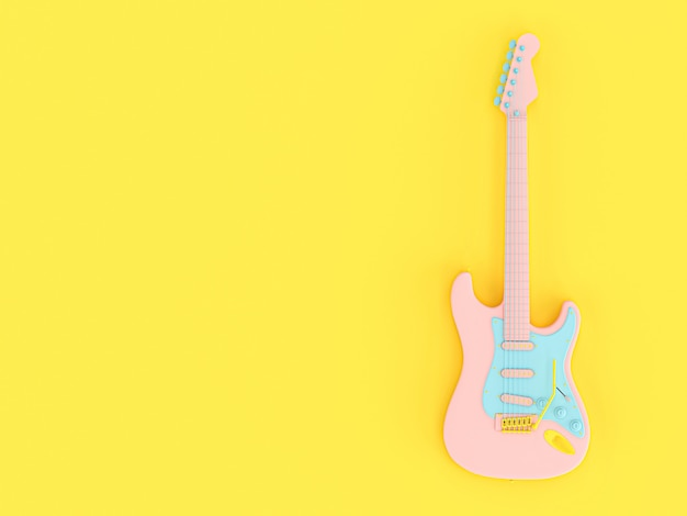 Guitare électrique aux couleurs unies rose, bleu et jaune sur fond jaune.