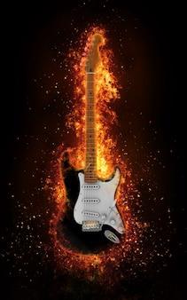 Guitare électrique en explosion de feu