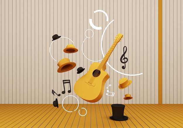 Guitare jaune et chapeau noir avec touches de musique sur un sol jaune et fond rendu 3d.