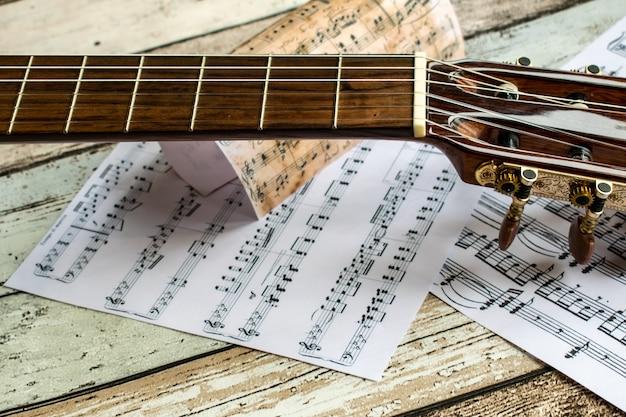 Guitare et musique, guitare et feuille de musique, instrument, guitare et notes de musique