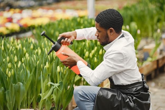 Guy de jardinier africain. jardinier avec un arrosoir. parterres de fleurs.